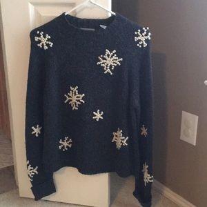 Charcoal gray snowflake sweater